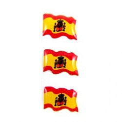 3 PEGATINAS RELIEVE BANDERA ESPAÑA 15X10MM