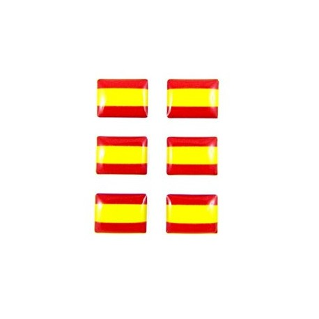 6 PEGATINAS RELIEVE BANDERA ESPAÑA 12X9MM