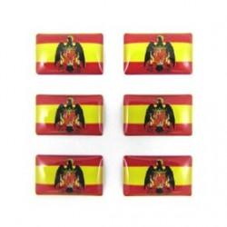 6 PEGATINAS BANDERA ESPAÑA AGUILA 15X9MM